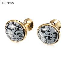 hot deal buy newest alabaster stone cufflinks for mens lepton low-key luxury snowflake stone cufflinks mens shirt cuff links relojes gemelos