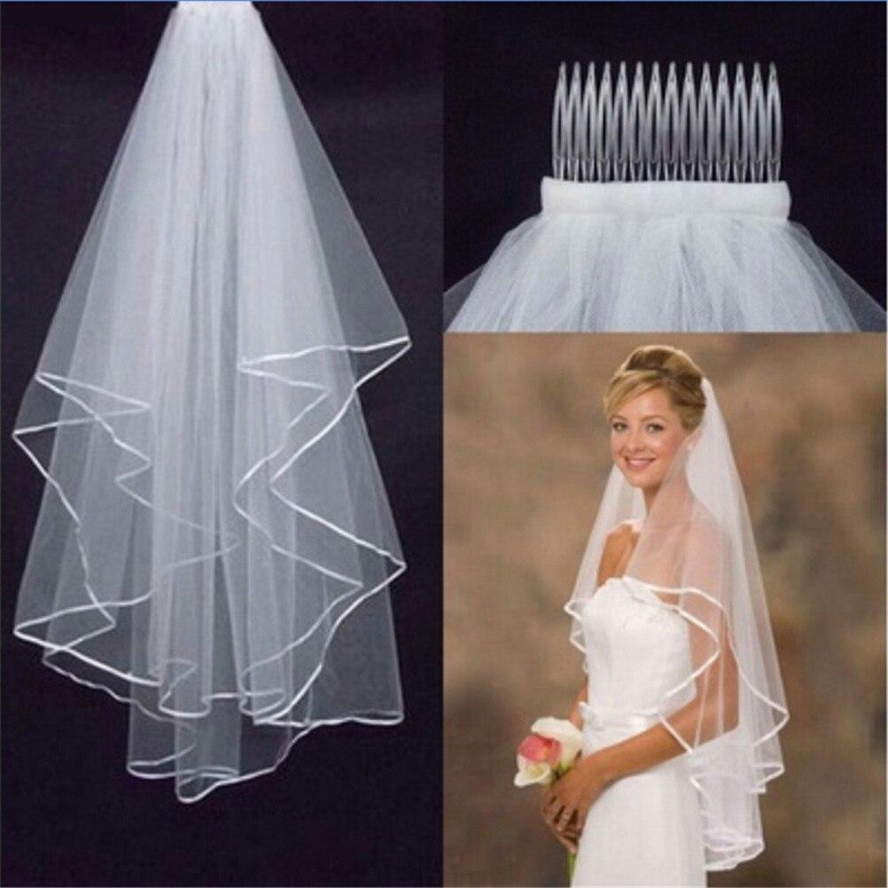 White//Ivory 1 Pcs 1 Layer Satin Edge Wedding Veil Bridal Veils With Comb New