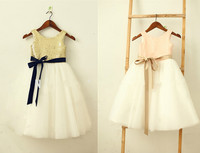 2017 Adorable Gold Sequins Ivory Flower Girl Dresses With Champagne/Navy Sash Tea Length Little Girl Birthday Party Dresses