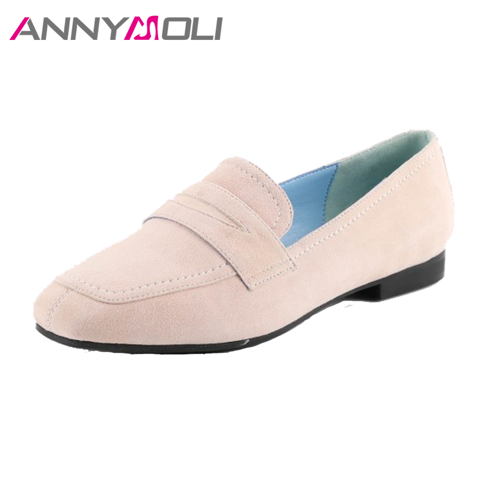 ANNYMOLI Natural Leather Shoes Women Flats Slip On Loafers Suede Shoes 2018 Spring Real Leather Shoes Ladies Square Toe Autumn annymoli women flat platform shoes creepers real rabbit fur warm loafers ladies causal flats 2018 spring black gray size 9 42 43
