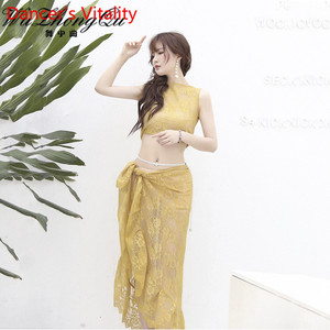 Image 2 - Belly Dance Practice Clothes 2019 New Sleeveless Top Hip Scarf Set Summer Beginner Indian Oriental Dance Wear Elegant Costume