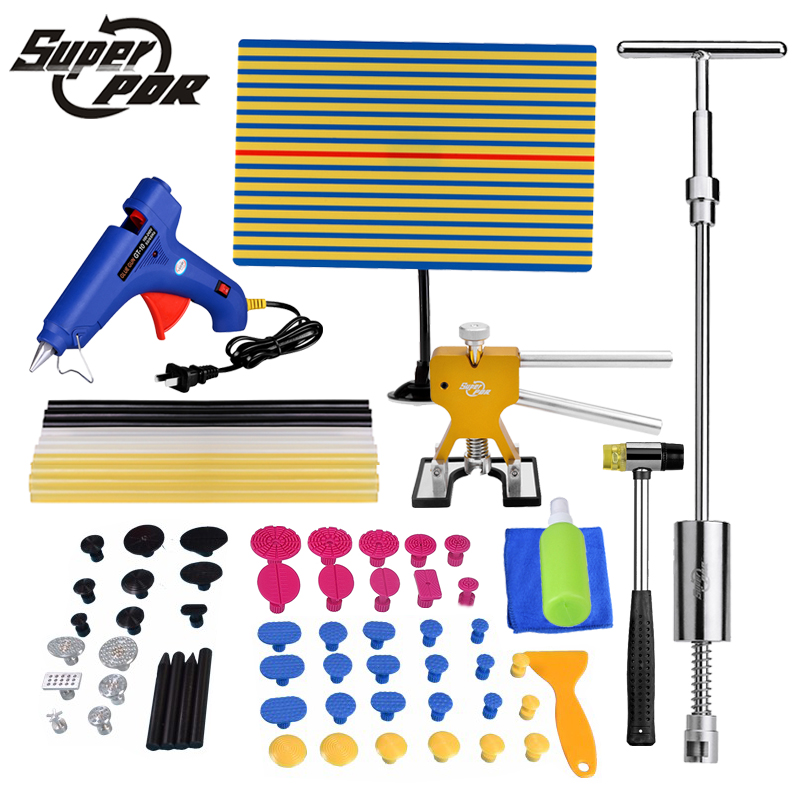 Super PDR Tools Car Paintless Dent Repair Tool Set Dent Puller Glue Gun Slide Hammer lamp board High Quality hand tools professional pdr tools 2 in 1 slide hammer glue tabs high quality paintless dent repair tools set
