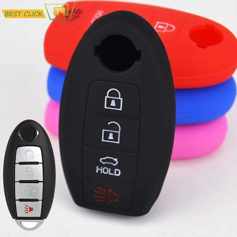 Carcasa para llave de coche Nissan ABS y silicona con llavero para Nissan Maxima Altima Sentra Murano Juke Azul carb/ón. pl/ástico 3 button A Ontto