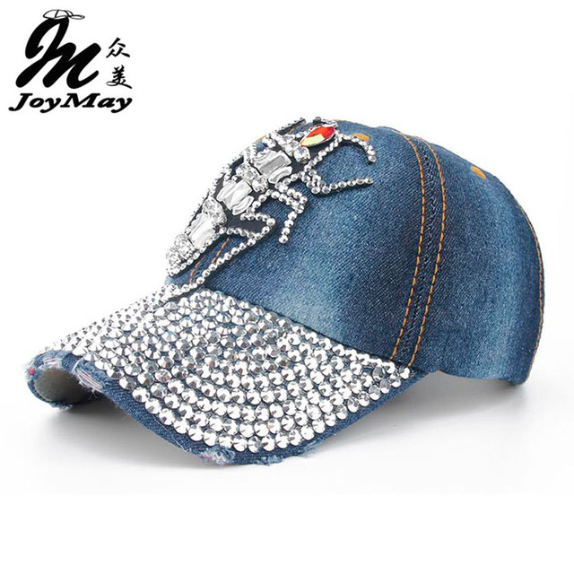 Joymay 2016 New Colorful Bling BUG Diamante Jean Denim Baseball Cap Men Adjustable Snapback Caps Women Casual Outdoor B271