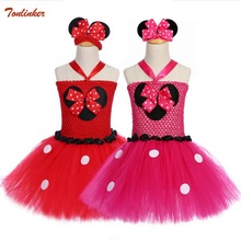 цена на Girls Mickey Tutu Dress Kids Handmade Tulle Tutus Minnie Dress With Dots Bow and Headband Set Children Party Cosplay Dresses New