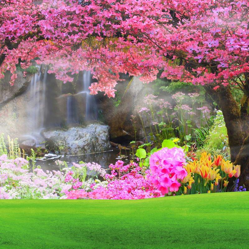 8x8FT Hot Pink Flowers Blossom Tree Grass Platform