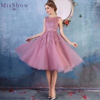 In Stock prom dresses 2019 Sleeveless Short prom dress Lace Applique Beading Gown Party evening dress vestido de festa Curto