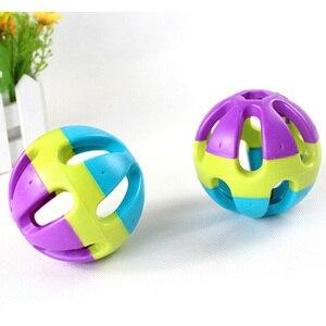 Новинка 2016, игрушка для собак, кошек, красочный резиновый круглый шар с маленьким колокольчиком, игрушечное кольцо, игрушка