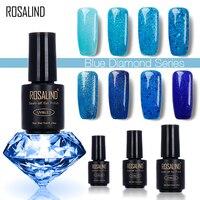 ROSALIND Diamond Glitter 7ML BLUE Color Nail Gel Polish LED UV Soak-off Gel Nail Polish Base Top Coat