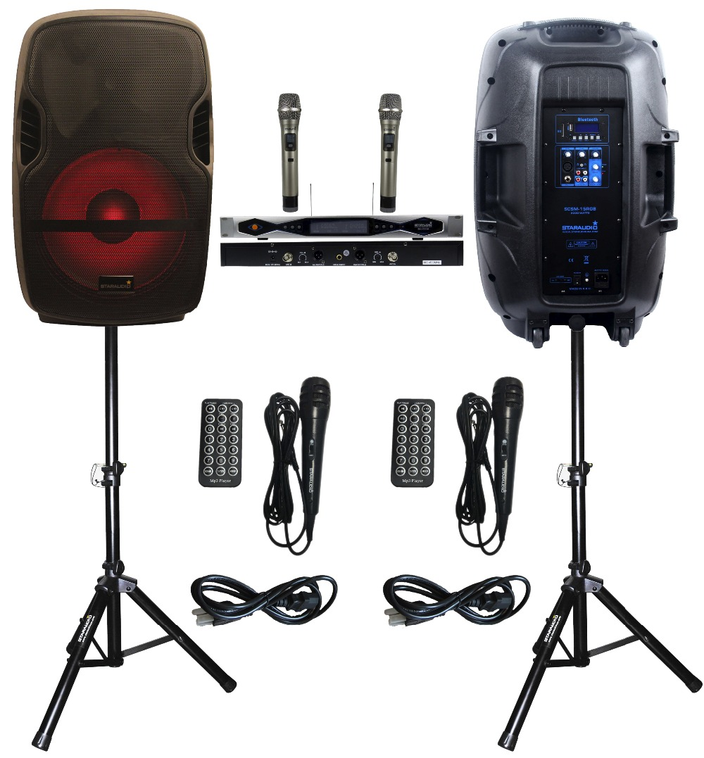 2 STARAUDIO 15inch SCSM-15RGB 2000W PA DJ KTV Stage Karaoke Powered Active BT SD USB Speakers With LED Light Stand 2CH UHF MIC