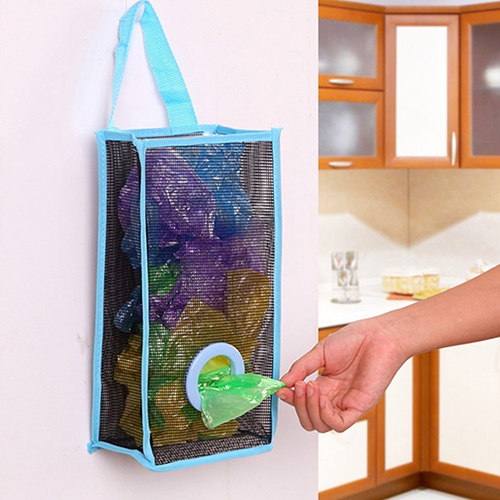 Breathable Mesh Hanging Kitchen Garbage Bag Storage Packing Shopping Bag Organiser