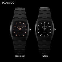 men quartz watch black steel wristwatches casual dress business watches male BOAMIGO luxury brand waterproof Relogio Masculino