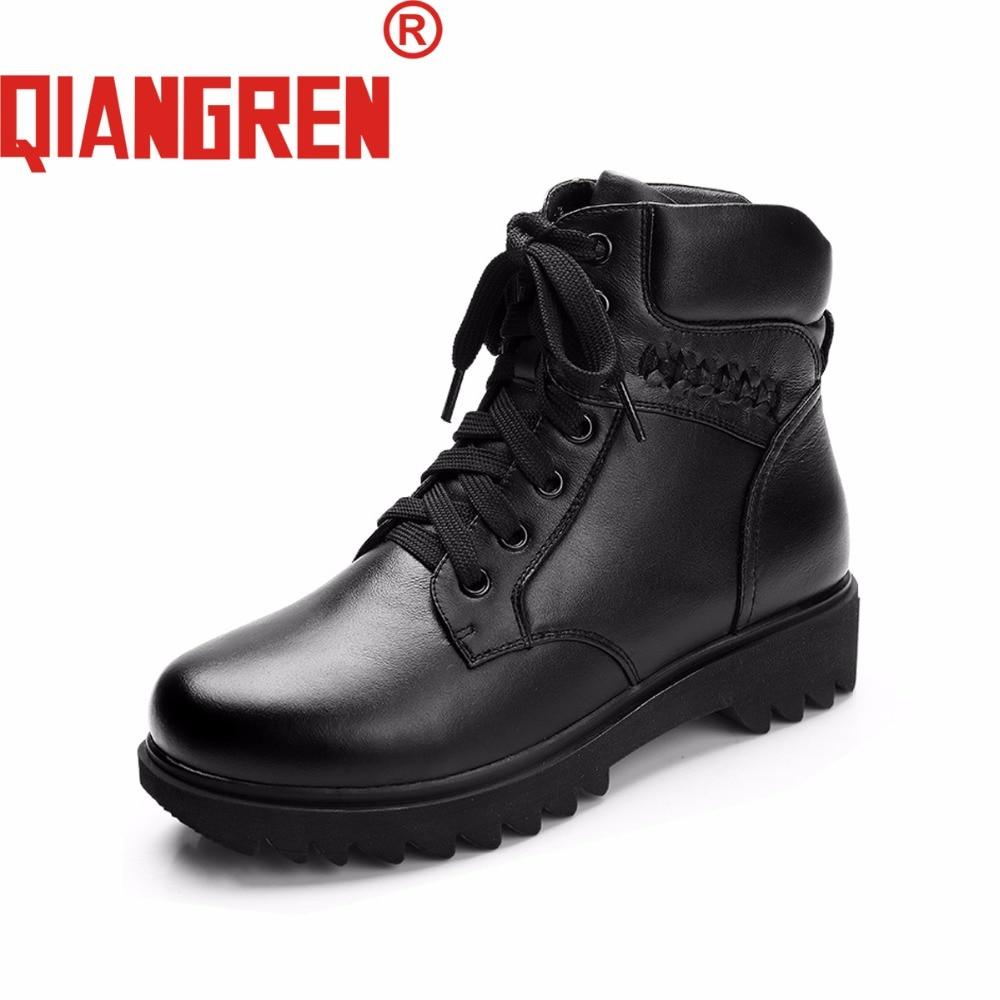 Goma Genuino Zapatos Mujeres Invierno Botas Las Al Negro Qiangren Nieve De Cuero Lana Señoras Libre Vaca Aire Marca Militar XTW1wqS8