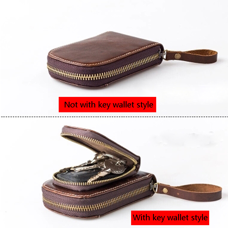 Genuine Leather Men Card Holder Wallets Male Vintage Housekeeper Zipper ID Card Walet Coin Purse Portomonee Card Key Vallet Bags