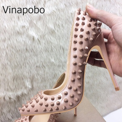 Concise Style Rivet High Shoes Women Pointy Toe Wedding Shoes Bride Stiletto Heel Pump Studded Decoration