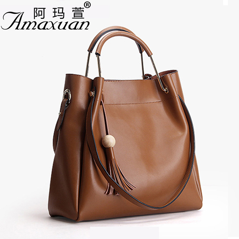 2017 Women Genuine leather handbag fashion women bag tote solid color Women casual messenger shoulder bag for ladies BBH1386 new genuine leather women handbag brand fashion summer design women s messenger shoulder bag tassel solid color casual tote 2017