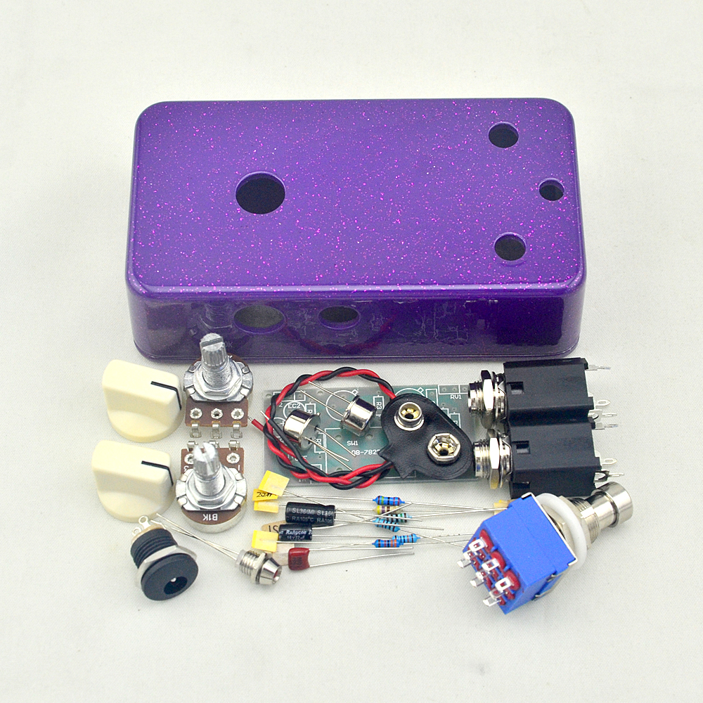 Vintage Fuzz Face DIY Guitar Pedal Kit With Germanium AC128 Transistors And 1590B Pre-drilled Enclosure