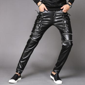personality motorcycle faux leather pants mens harem pants personality fashion pu trousers for men pantalon homme black winter