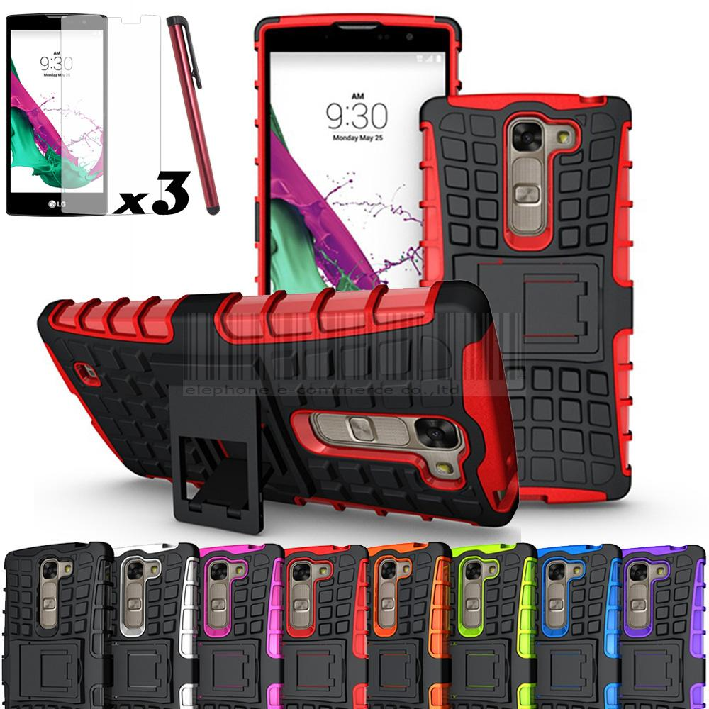 Rugged Armor Impact Heavy Duty Hybrid Case Shockproof Hard Stand Case Cover and Film For LG G4C / G4 MINI / Magna H525N / VOLT 2