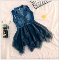girls denim tulle patchwork dress Sleeveless jeans dress for carnival holiday party children's costumes for a litter girl