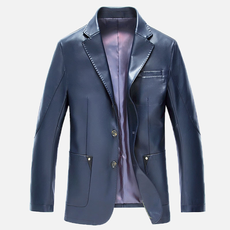 2017 New Fashion Men Leather Jacket Single-breasted Suit Collar Casual Leather Jacket Men Brand Clothing Plus Size M-XXXL