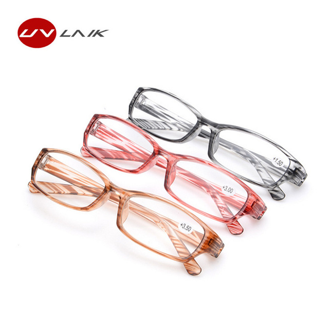 UVLAIK Fashion Reading Glasses Stripe Spectacles PC frame Transparent Glasses Women Men HD Resin Lens Glasses for Reading