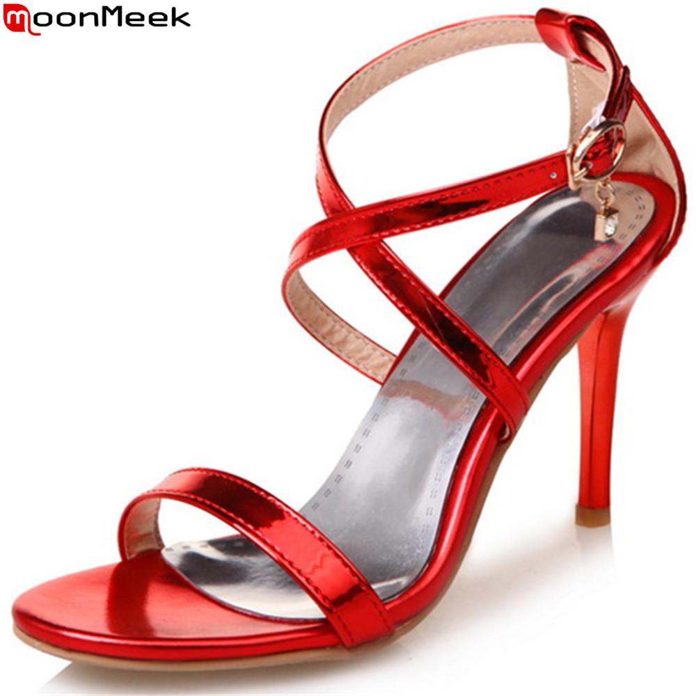 MoonMeek red fashion summer new women shoes buckle elegant ladies prom shoes thin heel super high sandals plus size 33-48 summer new large size denim shorts female high waist jeans thin 2017 new fashion women slim belly short pant