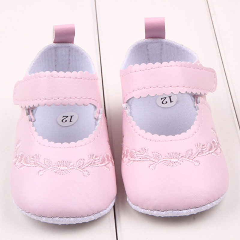 Baby Girl First Walkers Pu Leather Cute Princess Crib Shoes Newborn Comfy Outdoor Baby Shoes Pink Black White Anti-slip Sneakers