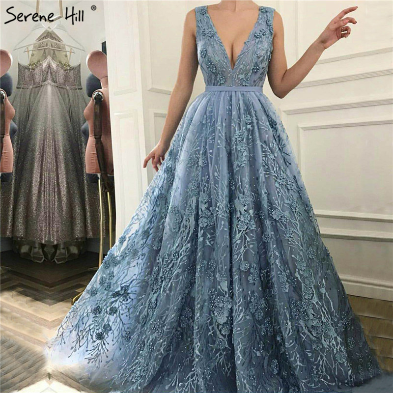 Long Blue Beaded Lace Formal Evening Prom Party Gown Dress