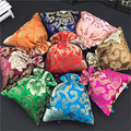 Luxury Large Fabric  Jewellery Gift Bags Drawstring Wedding Storage Pouch Decorative Silk Printed Tea Candy Favor Bag Packaging