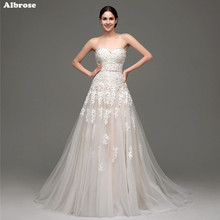 In Stock Light Champagne Wedding Dress Lace Beaded White Tulle Wedding Dresses Elegant Bridal Gown Chic vestidos de novia