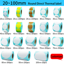 Direct Thermal Label Roll, Color / White Round Stickers, 1 Rolls, Packing seal label sticker