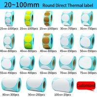 Direct Thermische Label Roll, Kleur/Wit Ronde Stickers, 1 Rolls, Verpakking seal label sticker