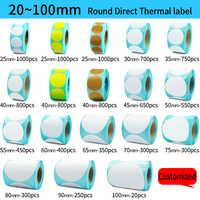Rotolo di Etichette Termica diretta, di Colore/Bianco Rotondo Adesivi, 1 Rolls, Imballaggio di tenuta etichetta adesiva
