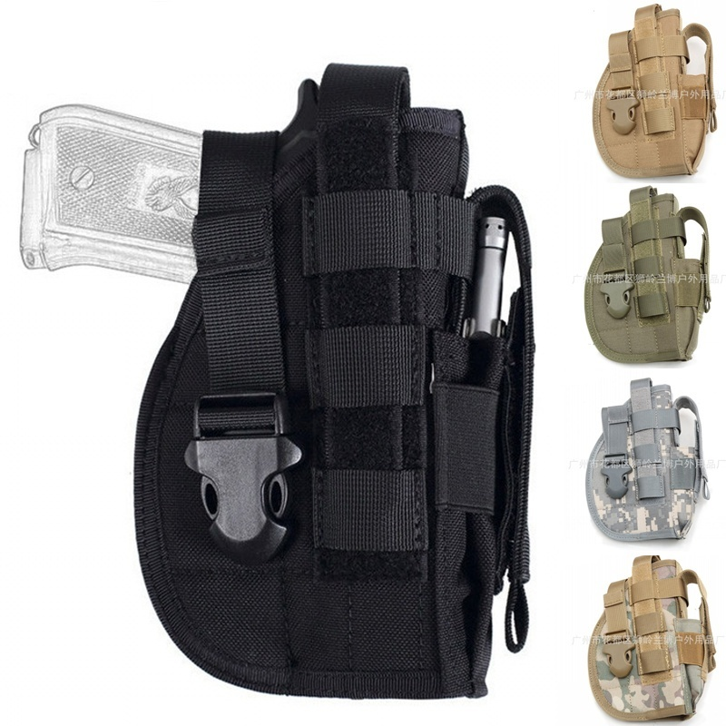 CQC 1000D Outdoor Military Airsoft Tactical Universal Gun Holster Molle Modular Pistol Holster Right Handed Waist Hunting Bag onetigris tactical gun holster molle modular pistol holster with magazine pouch for right handed shooters 1911 45 92 96 glock
