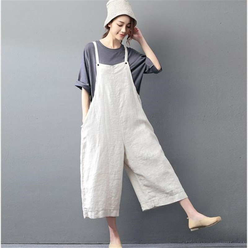 BUYKUD 2018 Summer Women Casual Jumpsuits & Rompers Cotton Linen Loose Beige Overall Calf-Length Plus Size Pants With Pocket