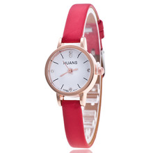 Lovesky 2017 Female Models Fashion Thin Belt Rhinestone Belt Watch PU leather casual bracelet watch wristwatch women Watches