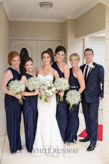 2017 Long Navy Blue Bridesmaid Dress One Shoulder Ruffles Bling Maid Of Honor Formal Women