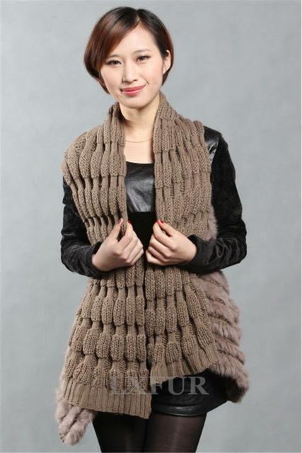 Real Lady Knitted Rabbit Fur Vest Street Style Woolen Gilet Long Wraps Fur Waistcoat Spring/Autumn Casual Outwear LX00265