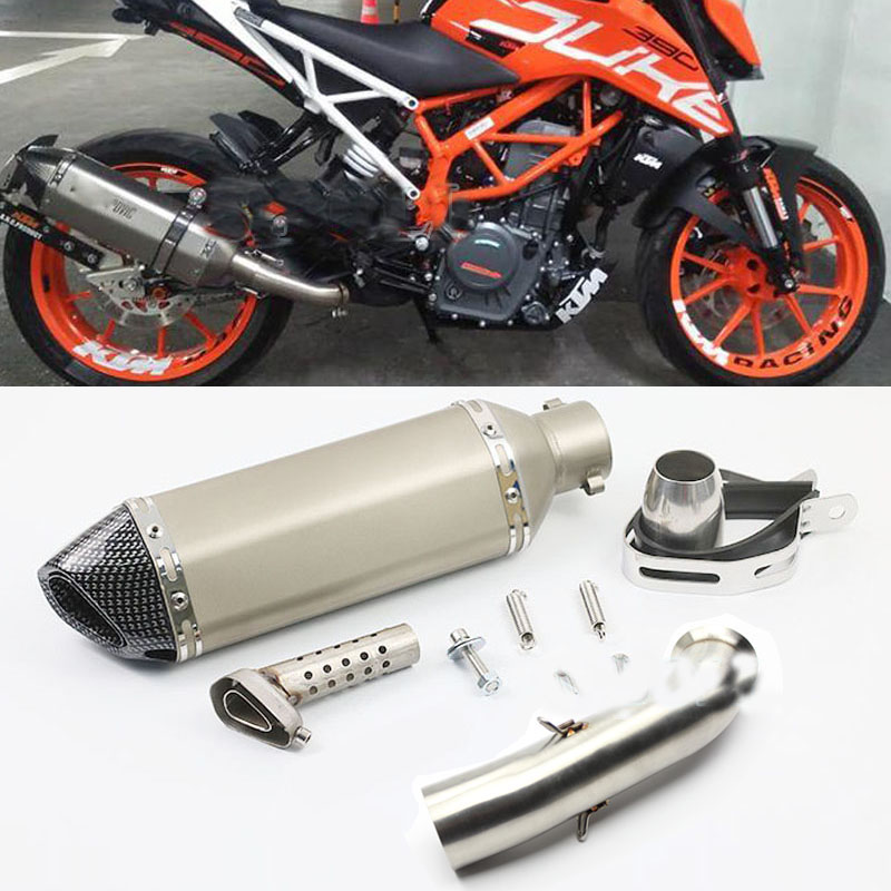 Motorcycle For Akrapovic Exhaust Link Pipe Full Systems For KTM DUKE 390 250 DUKE RC 390 RC 125 RC390 DUKE 125 2016 2017 2018 motorcycle exhaust link pipe for ktm duke 125 duke 200 duke 390 carbon color motorbike exhaust muffler escape full system laser
