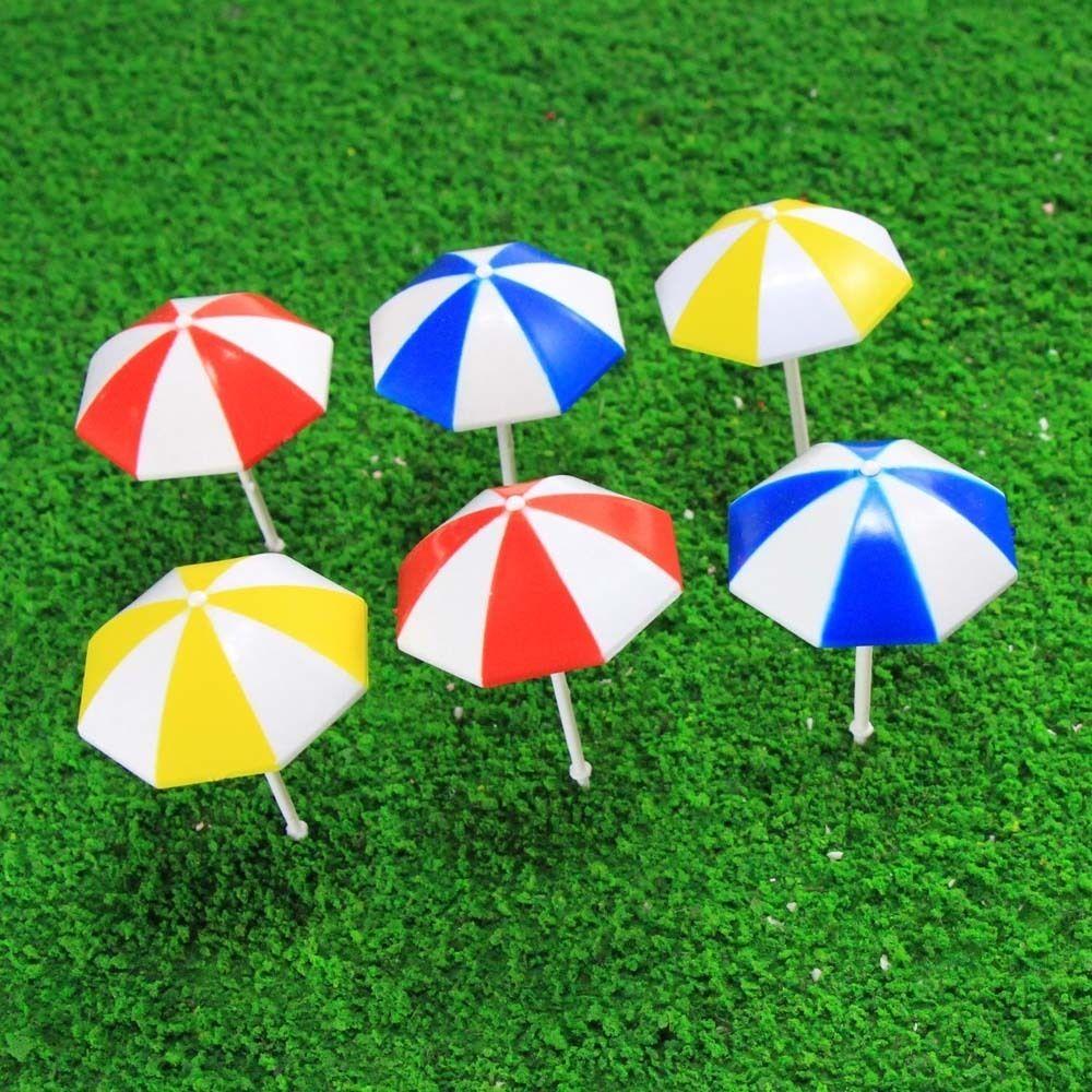 TYS11050 6pc Model Train Railway Sun Umbrella Parasol Colorful 1:50 ...