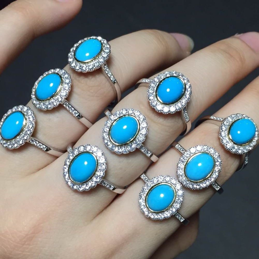 [MeiBaPJ Natural Turquoise Gemstone Trendy Ring for Women Real 925 Sterling Silver Charm Fine Jewelry 2 Colors SY sweet years sy 6282l 07