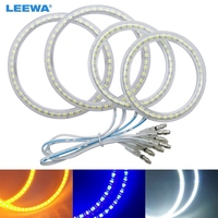 LEEWA White/Blue/Yellow Car LED Halo Rings Angel Eyes DRL Head Lamp For LAND ROVER Light 2x100mm,2x126mm #CA1009