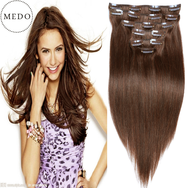 7A clip in human hair extensions Brazilian Virgin Hair Straight Full Thick Dark BrownRemy Clip In Human Hair Extensions 70g-220g