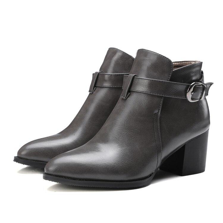 ФОТО Botas Mujer New Sale Large Size 33-47 Women Ankle Boots Heels 2017 Autumn Winter Botas High Heel Shoes Platform Woman Short 219