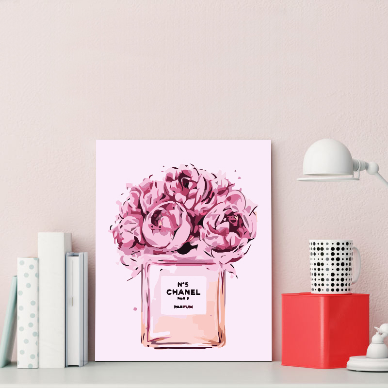 Perfume bottle pink flower creative illustration big painting king DIY home decor painting hotel cafe decoration paintingPerfume bottle pink flower creative illustration big painting king DIY home decor painting hotel cafe decoration painting