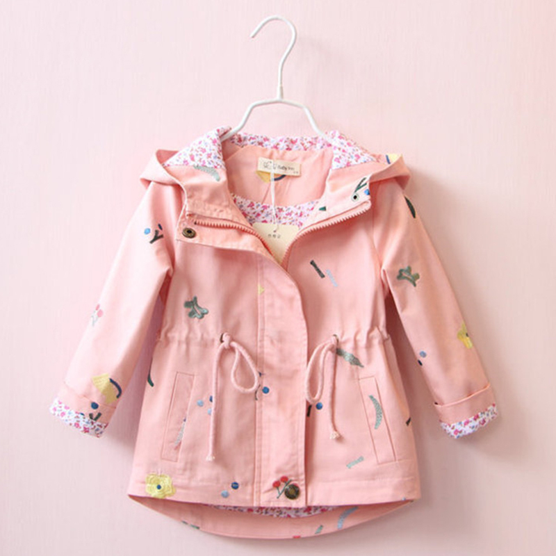 trench   coat autumn spring children's outerwear for baby girls   trench   coat jacket embroidered long sleeve hooded toddler clothes