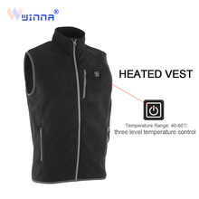 New arrival USB battery heating vest winter men charging Fleece balck coat  to keep the body warm 3 mode size xs-xxl