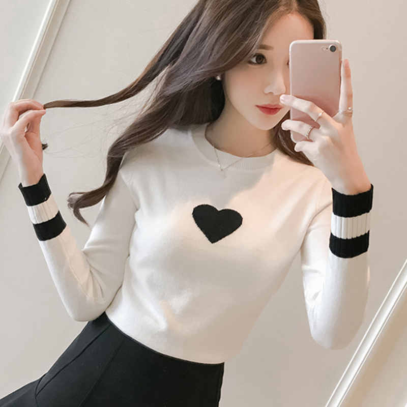 Autumn Winter Knitted Women Sweaters And Print O-Neck Long Sleeve Casual Pullovers Sueter Mujer Tops Sweet Korean Jumper