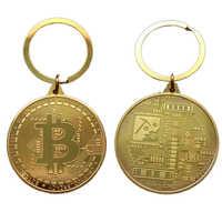 Llavero diseño Moneda de Bitcoin chapado en oro, colección de monedas, regalo de colección de arte Metal físico, imitación antigua, decoración del hogar, venta al por mayor